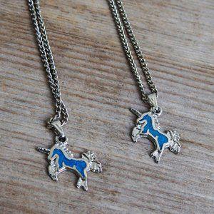 2 Faux Turquoise Unicorn Necklaces, Matching!